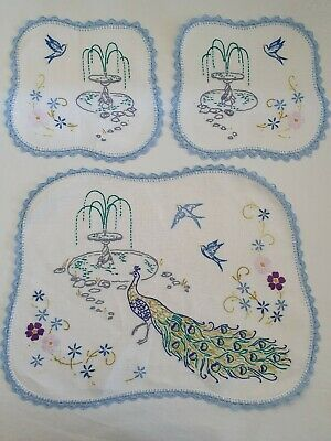 Hand embroidered doilies Peacock with blue birds Duchess Set