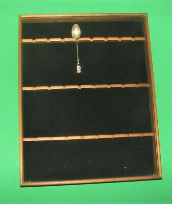 Glass Front 24 Souvenir Spoon Wooden wall-mount  Display Case -- used