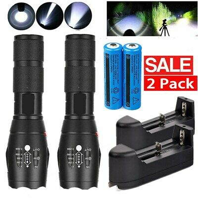 2x Tactical Police 900000Lumen T6 5 Modes LED Flashlight Zoomable Handheld Torch
