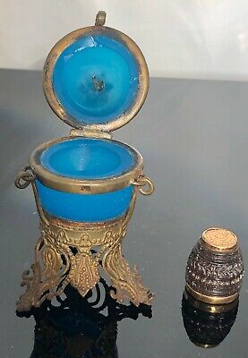 Antique French blue crystal Thimble case with gilded finding gold thimble inside