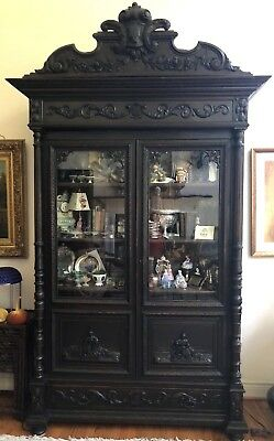 19thc French Black Forest Carved Oak Library cabinet figures Alsace gorgeous