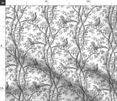 Chinoiserie Toile Antique French Birds Trees Fabric Printed by Spoonflower BTY