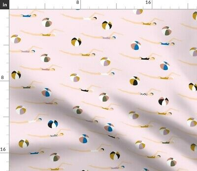 Swimming Girls Summer Nautical Beach Vacation Fabric Printed by Spoonflower BTY