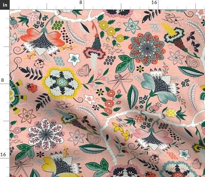 Chintz Indian French Antique Pink Floral Fabric Printed by Spoonflower BTY