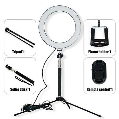 "8"" LED Ring Light Kit With Stand Dimmable Makeup Phone Camera Selfie Lighting"
