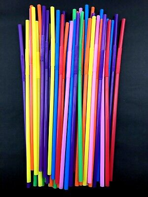 200 Plastic Long Drinking Straws Party Cocktail Juice Bendy Curly Straw Events