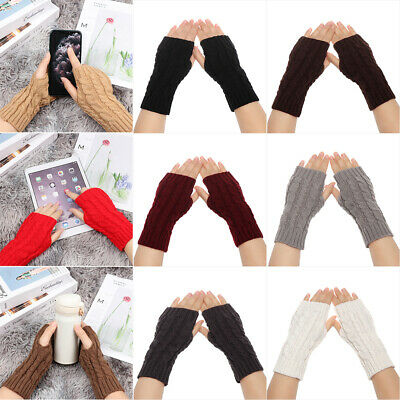Thick Warm Soft Arm Warmers Candy Color Knitted Gloves Fingerless  Mittens