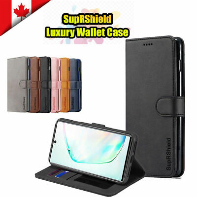 For Samsung Galaxy S9 Note 10 Plus Genuine SupRShield Wallet Leather Case Cover.