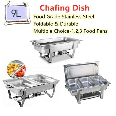 9L Bain Marie Bow Chafing Dish Foldable Stainless Steel Food Buffet Warmer Set