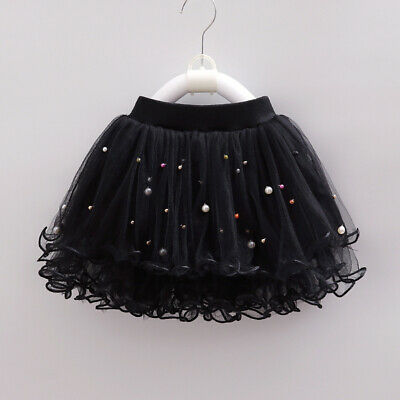 Kids Girls Beads Frill Tulle Skirt Sweet Princess Layered Tutu Ballet Party New