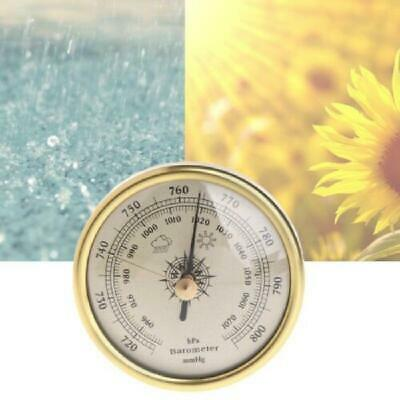 72mm Wall Hanging Barometer 1070hPa Round Dial Air Weather Station Gold Color