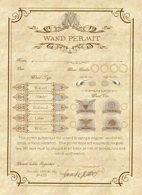 Harry Potter Inspired Wand Permit - Party Favour - Party Prop