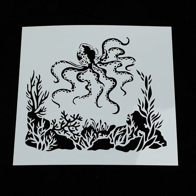 Painting Stencil Octopus Shape Patterns Drawing Airbrush Kids Gift Craft IO