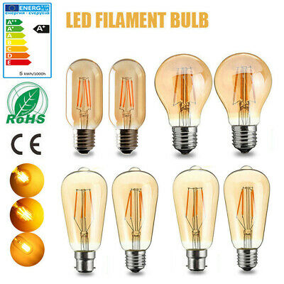 E27 B22 LED Edison Filament Bulb Light Retro Vintage Screw Globe Lamp Home Decor