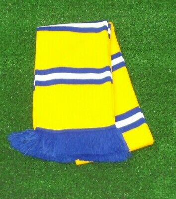 Leeds United Yellow Colours Retro Bar Scarf - Yellow,Royal & White - Made in UK