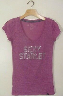 Victoria's Secret Women's Top Shirt Size Small S Purple Short Sleeve V-Neck