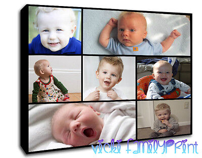 PERSONALISED CANVAS COLLAGE PICTURE FAMILY GIFT PHOTOS 280gsm 18mm frame