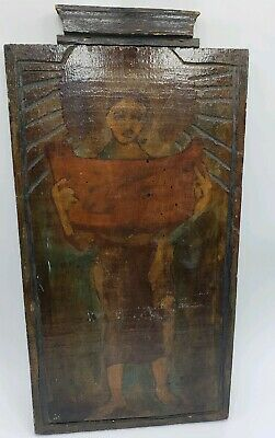 Handmade Antique- Primitive Religious? Painting on Carved Wood Wall Hanging
