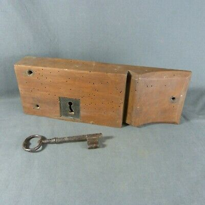 Gorgeous Antique French Wooden Door Rim Lock With Key, Double lock Working !