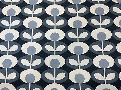 Orla Kiely Oval Flower Cool Grey Printed Cotton Fabric 2.5 Piece