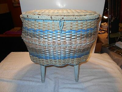 Vintage  Standing Wicker Sewing Basket with Handle Singer??