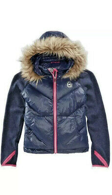 Michael Kors Big Girls Jacket With Removable Faux-Fur-Trimmed Hood Navy Size 7-8