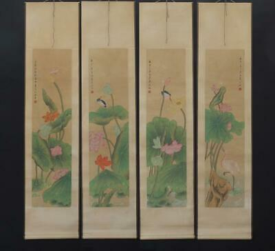 Fine Chinese Hand-painting Painting Four Scroll Shen Quan Marked-louts flower