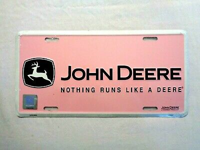 New Pink Metal John Deere License Plate-Nothing Runs Like A Deere