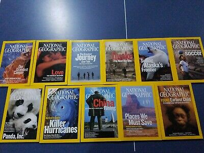 Lot of 11 National Geographic Magazines issues from 2006 with Maps Nice!