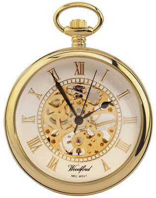 Woodford Gold Plated Open Centre Skeleton Mechanical Pocket Watch - Gold
