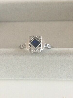 Antique Art Deco 18Ct Gold & Platinum Sapphire & Diamond Ring Uk Size L