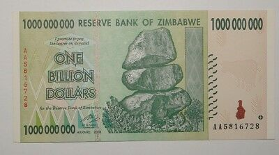 Zimbabwe 1 Billion Dollars Note. Uncirculated.