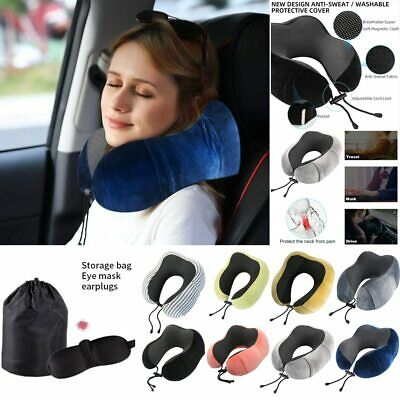 Memory Foam U-Shape Travel Pillow Neck Head Support Rest Cushion Airplane Black