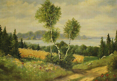 Signed Dohna ? - Hilly Landscape with Birch Flowers Meadows and Lake