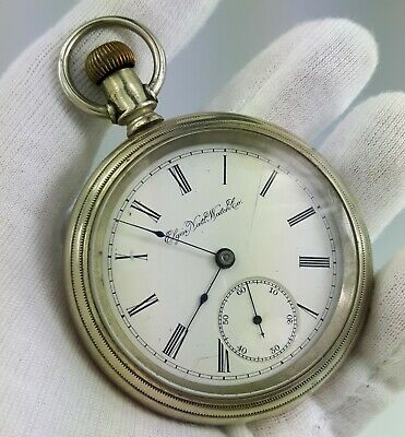 XL Elgin Pocket Watch Safety Pinion 1891 Open Face 15 or 17 J Antique Silver