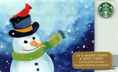 Starbucks Snowman With Cardinal Gift Card 2016 Collectible NEW NV - Pin Covered