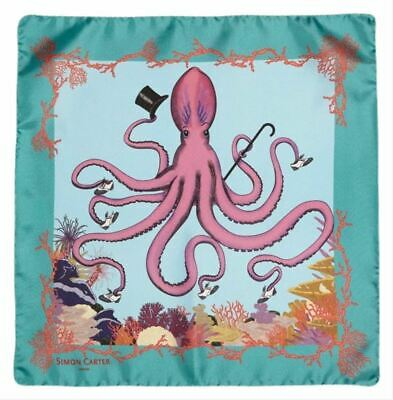 Simon Carter Mens Under the Sea Octopus Pocket Square - Teal/Pink