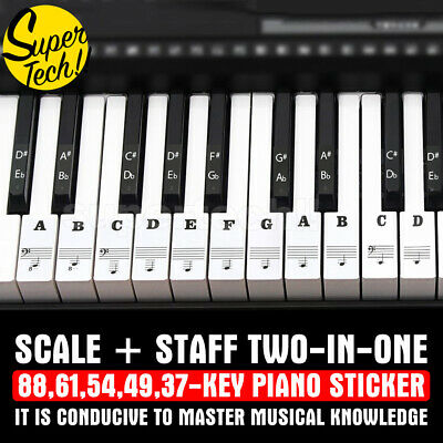 5 in 1 Universal Piano Sticker 37/49/54/61/88Key Note Music Keyboard Stickers AU