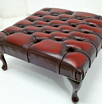 Large Square Chesterfield Footstool Table 100% Antique Oxblood Leather