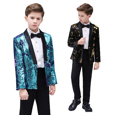 Boys Kids Children Reversible Two Tone Glitter Sequin Suit Jacket Blazer Slim
