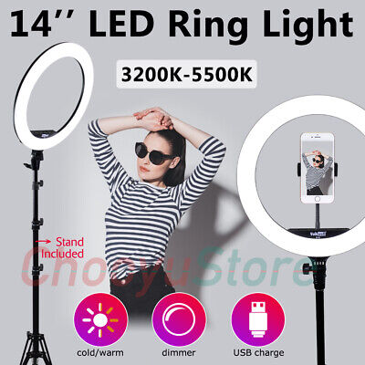 14'' LED Ring Light Studio Photo Camera Video Dimmable Lamp Tripod Stand Selfie