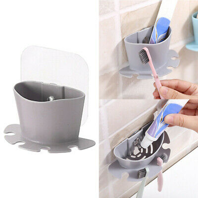 Bathroom Toothbrush Toothpaste Wall Mount Holder Sucker Suction Cup Organizer W8