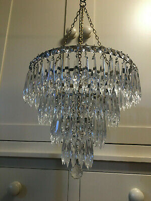 Large Sparkling Vintage Crystal Four Tier Waterfall Chandelier