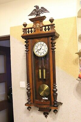 GERMANY 2 weight Gustav Becker wall clock Signed case 1903