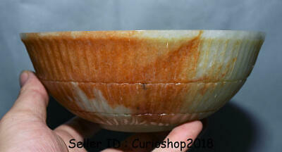 "7"" Finely Old Chinese Qing Dynasty Nephrite Hetian Green Jade Carved Big ""Bowl"""