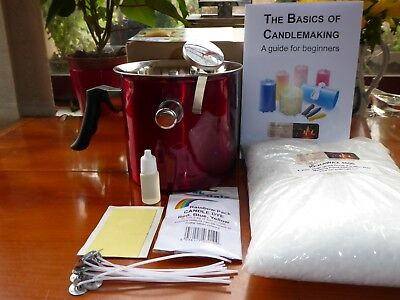 The Ultimate Candle Making Kit Safety Pot 1kg Wax.therm.wicks.dye.fragrance.Inst
