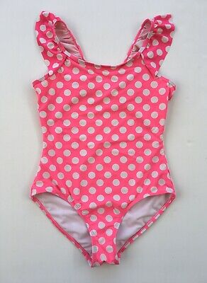 Girls Matalan Pink White Spotted Swimsuit Swimming Costume Age 12 - 13