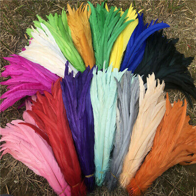 Wholesale 10-500 pcs Natural Rooster Feathers 30-40cm//12-16 inches 20 Color Opt