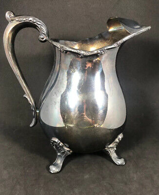 """VTG Silverplate 8.5""""H Water Pitcher W/Feet &/Ice Guard EPCA BRISTOL By POOLE 5H"""