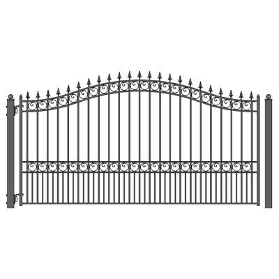 ALEKO London Style Ornamental Iron Wrought Single Swing 18' Driveway Gate